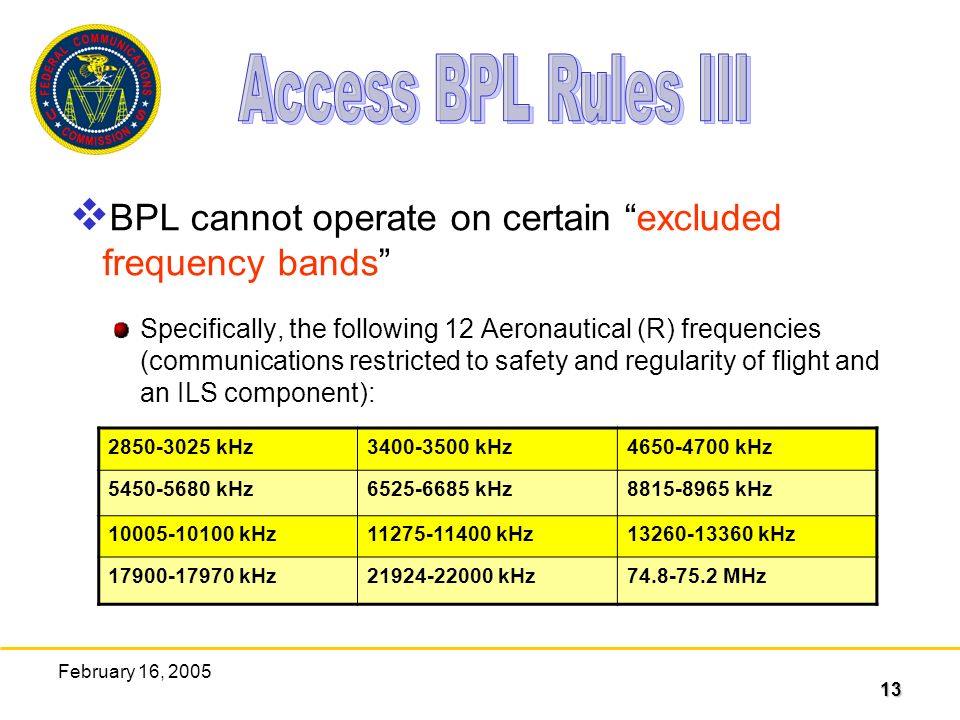 13 February 16, 2005 BPL cannot operate on certain excluded frequency bands Specifically, the following 12 Aeronautical (R) frequencies (communications restricted to safety and regularity of flight and an ILS component): kHz kHz kHz kHz kHz kHz kHz kHz kHz kHz kHz MHz