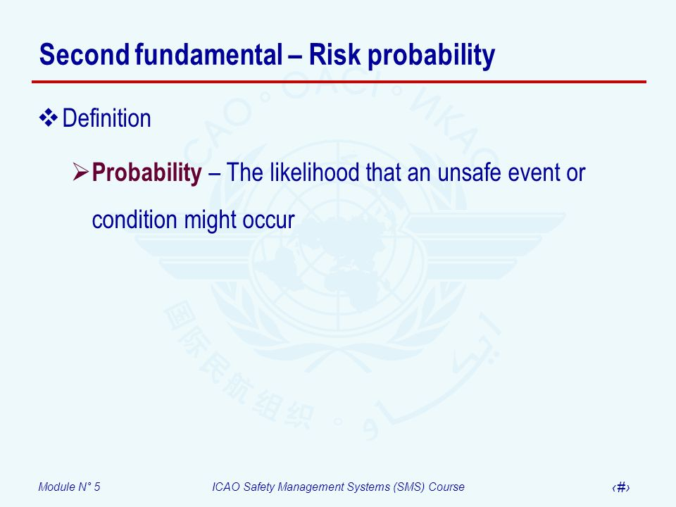 Module N° 5ICAO Safety Management Systems (SMS) Course 10 Second fundamental – Risk probability Definition Probability – The likelihood that an unsafe