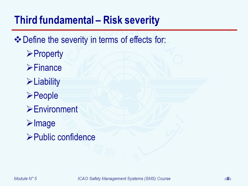 Module N° 5ICAO Safety Management Systems (SMS) Course 15 Third fundamental – Risk severity Define the severity in terms of effects for: Property Fina