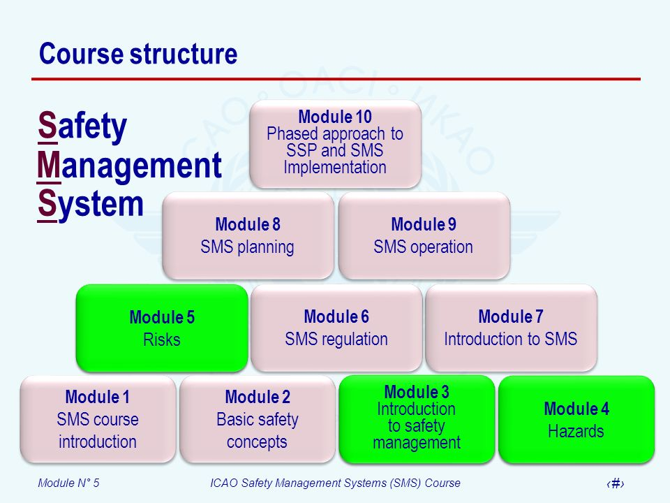 Module N° 5ICAO Safety Management Systems (SMS) Course 13 Second fundamental – Risk probability Probability of occurrence Meaning Qualitative definition Value Frequent Occasional Remote Improbable Extremely improbable Likely to occur many times (has occurred frequently) Likely to occur some times (has occurred infrequently) Unlikely, but possible to occur (has occurred rarely) Very unlikely to occur (not known to have occurred) Almost inconceivable that the event will occur 5 4 3 2 1