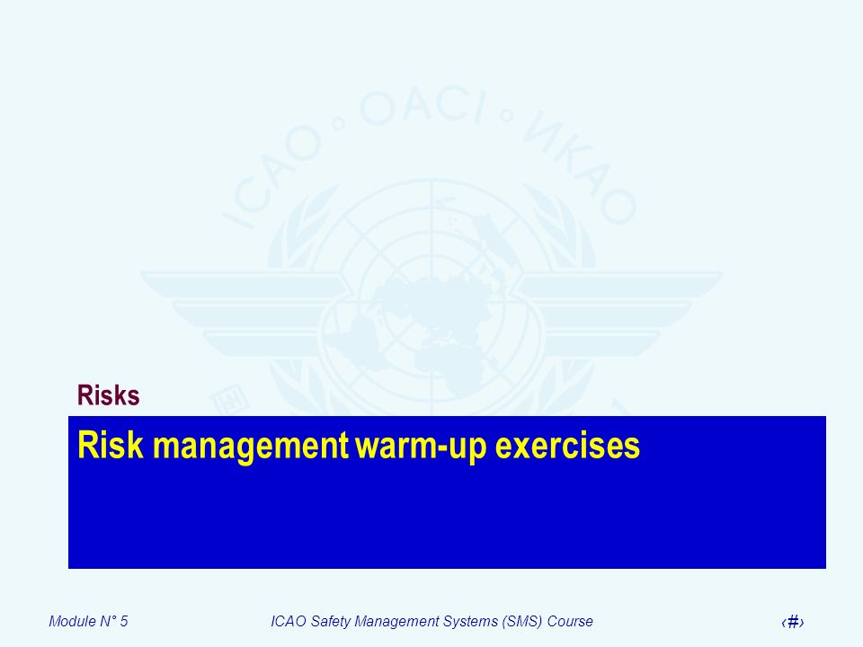 Module N° 5ICAO Safety Management Systems (SMS) Course 31 Risk management warm-up exercises Risks