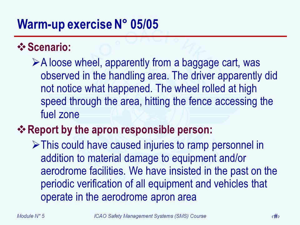 Module N° 5ICAO Safety Management Systems (SMS) Course 40 Scenario: A loose wheel, apparently from a baggage cart, was observed in the handling area.