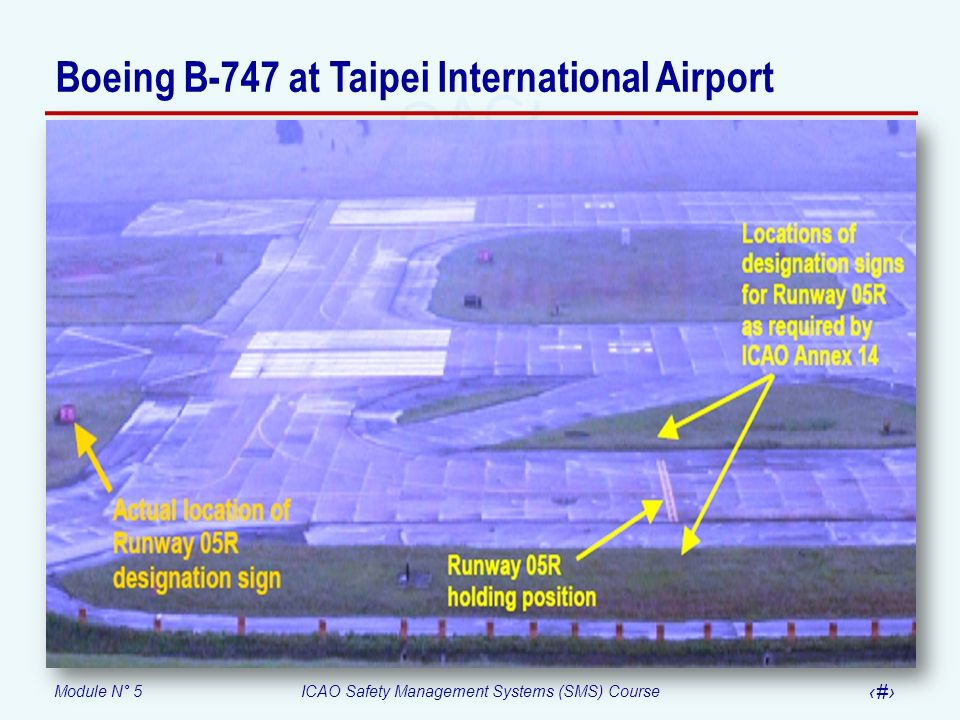Module N° 5ICAO Safety Management Systems (SMS) Course 59 Boeing B-747 at Taipei International Airport
