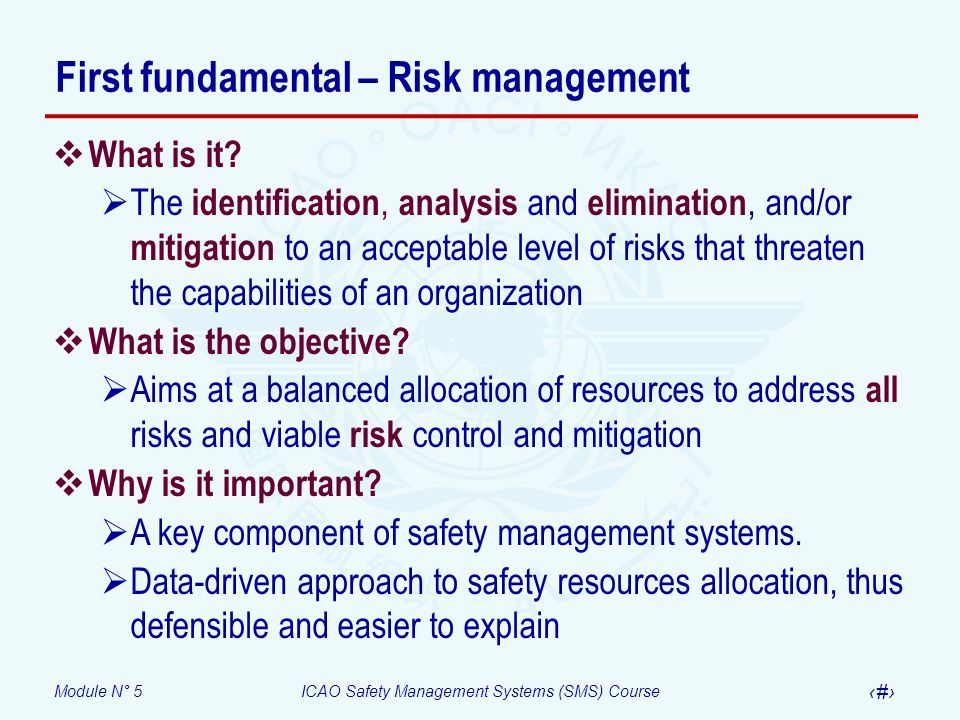 Module N° 5ICAO Safety Management Systems (SMS) Course 27 Risk mitigation – Defences As part of the risk mitigation, determine: Do defences to protect against such risk (s) exist.