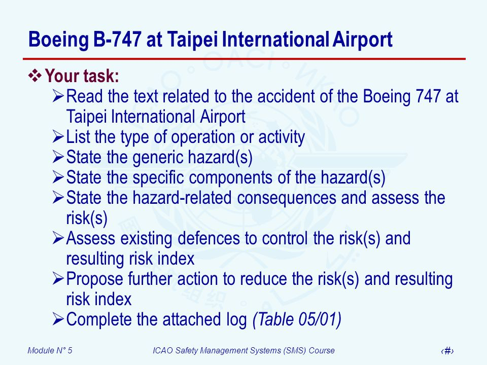 Module N° 5ICAO Safety Management Systems (SMS) Course 60 Your task: Read the text related to the accident of the Boeing 747 at Taipei International A