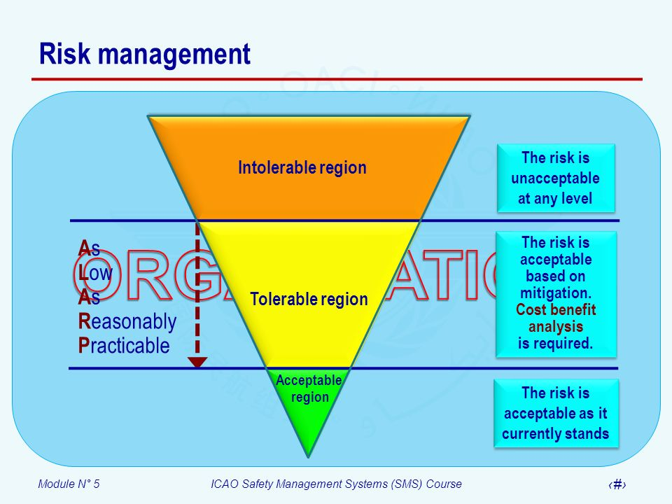 Module N° 5ICAO Safety Management Systems (SMS) Course 18 Third fundamental – Risk severity A large reduction in safety margins, physical distress or a workload such that the operators cannot be relied upon to perform their tasks accurately or completely.