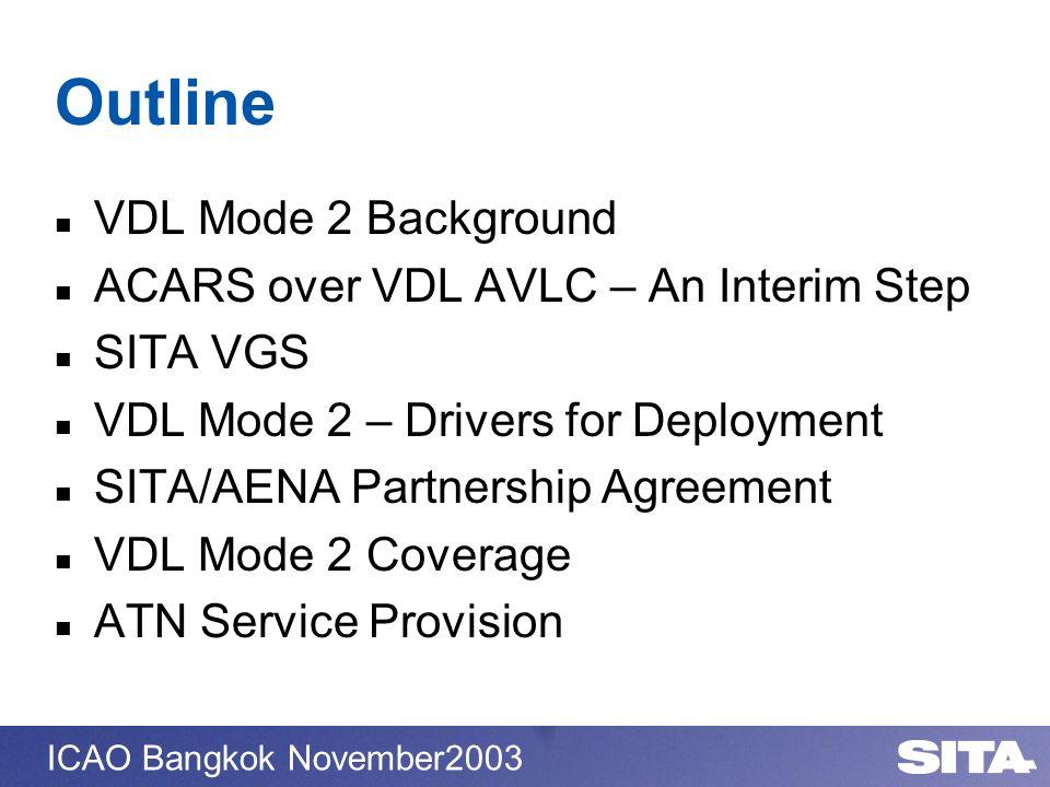 ICAO Bangkok November2003 Outline VDL Mode 2 Background ACARS over VDL AVLC – An Interim Step SITA VGS VDL Mode 2 – Drivers for Deployment SITA/AENA P
