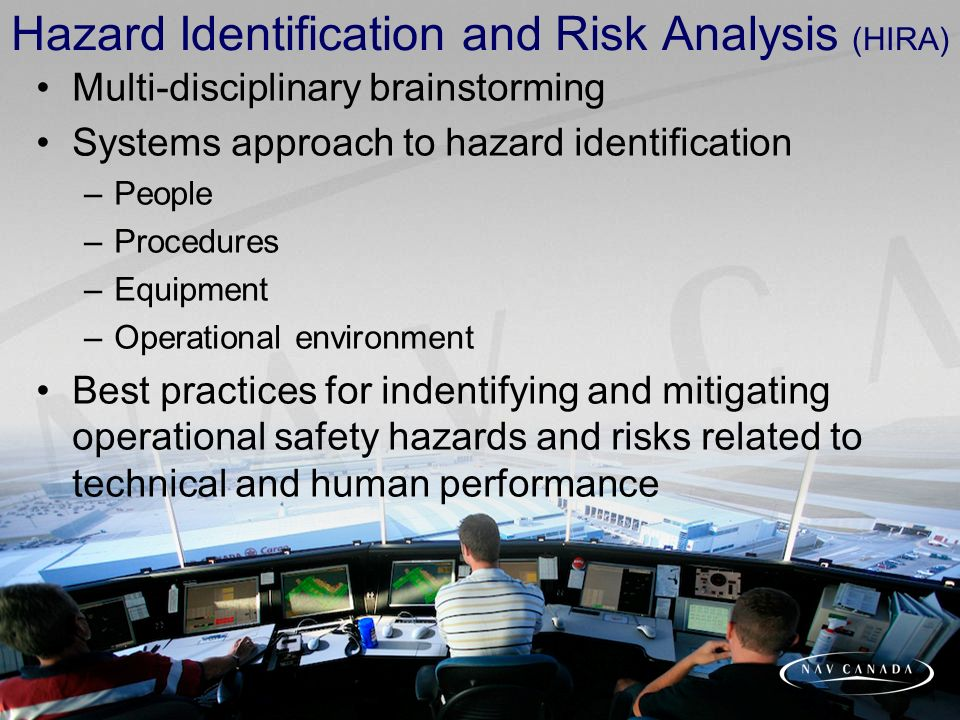 Hazard Identification and Risk Analysis (HIRA) Multi-disciplinary brainstorming Systems approach to hazard identification –People –Procedures –Equipment –Operational environment Best practices for indentifying and mitigating operational safety hazards and risks related to technical and human performance