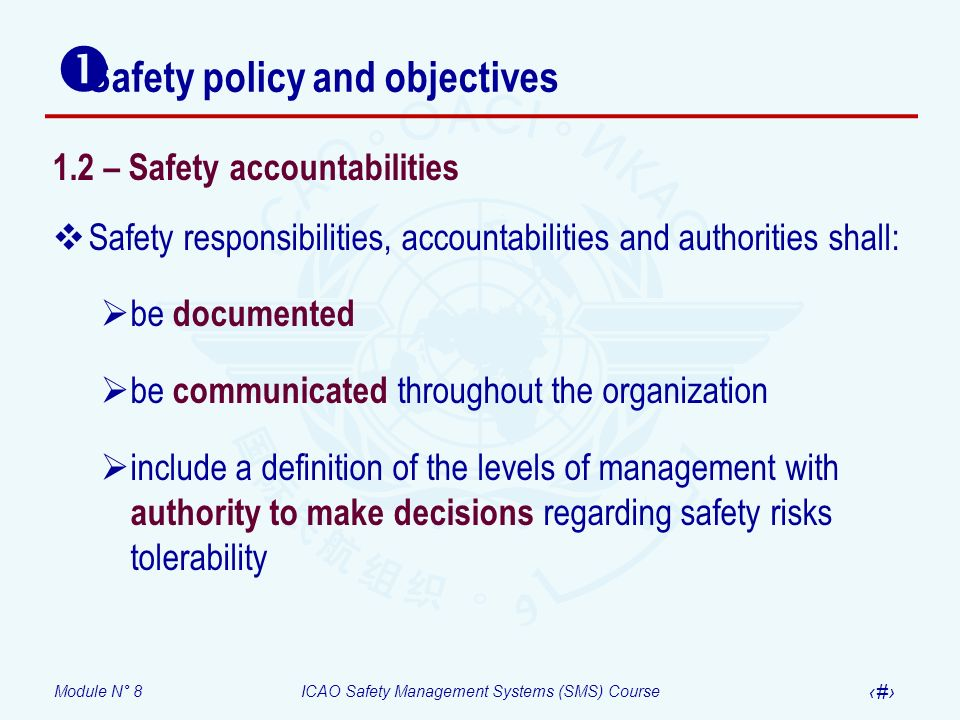 Module N° 8ICAO Safety Management Systems (SMS) Course 16 Safety policy and objectives 1.2 – Safety accountabilities Safety responsibilities, accounta