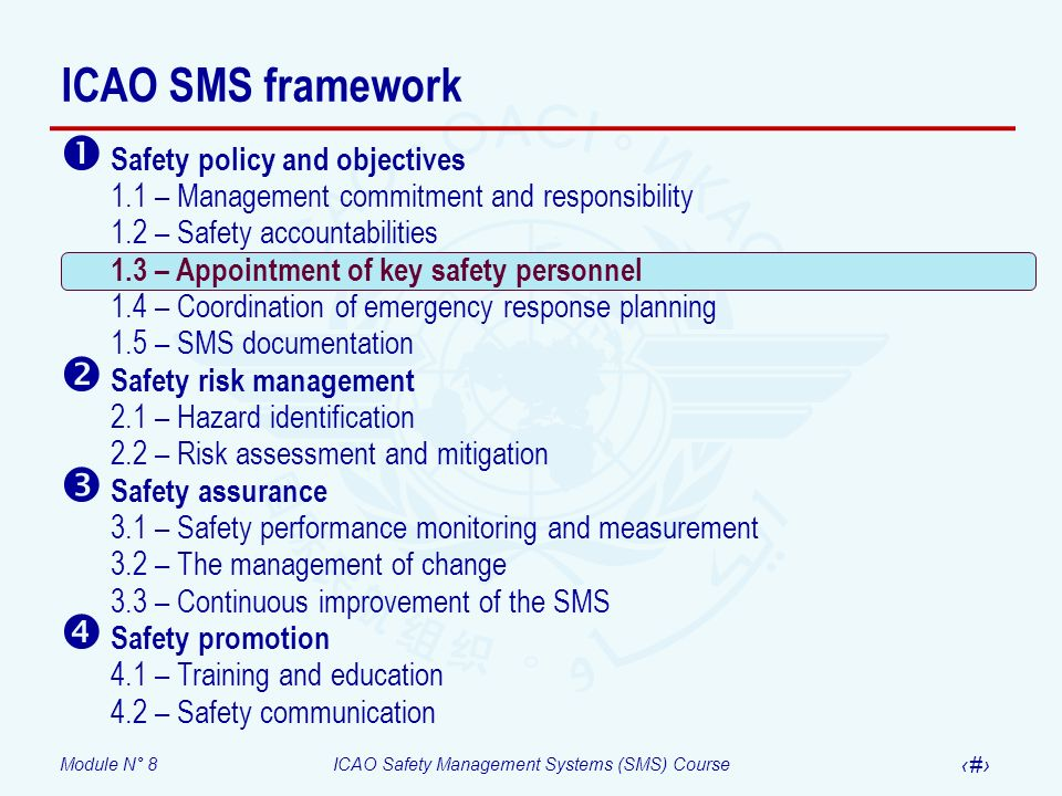 Module N° 8ICAO Safety Management Systems (SMS) Course 19 ICAO SMS framework Safety policy and objectives 1.1 – Management commitment and responsibili