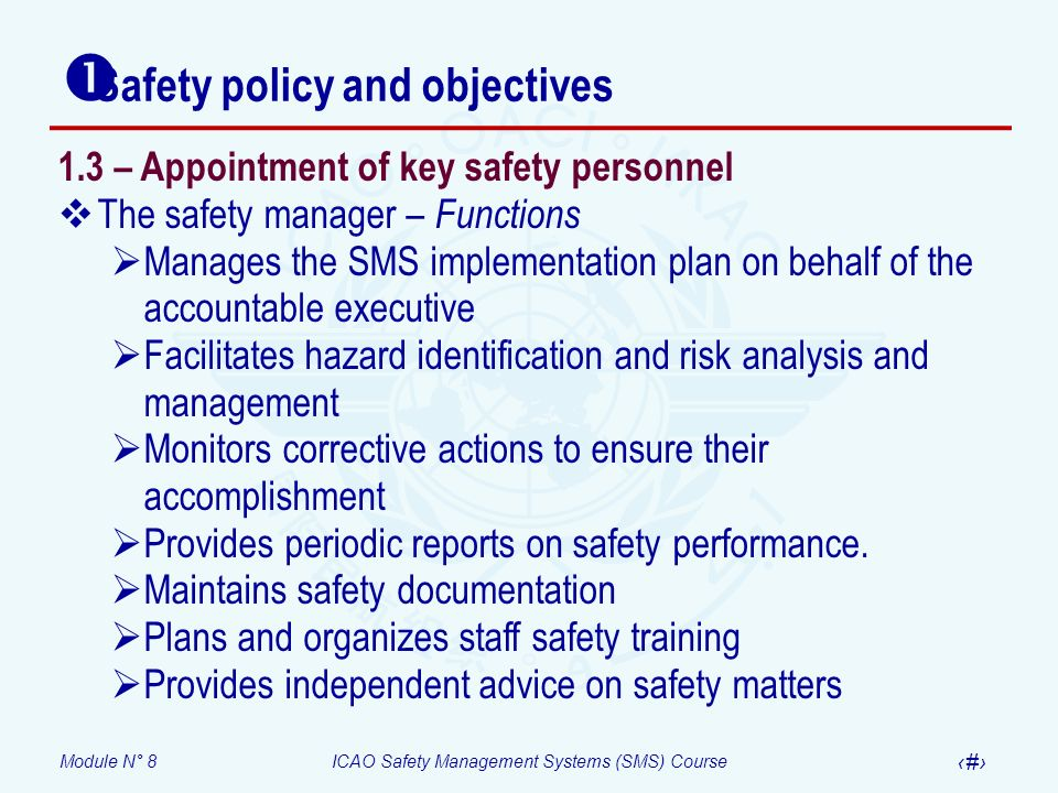 Module N° 8ICAO Safety Management Systems (SMS) Course 23 Safety policy and objectives 1.3 – Appointment of key safety personnel The safety manager –