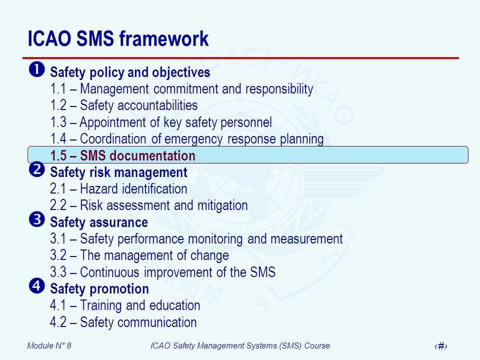 Module N° 8ICAO Safety Management Systems (SMS) Course 34 ICAO SMS framework Safety policy and objectives 1.1 – Management commitment and responsibili