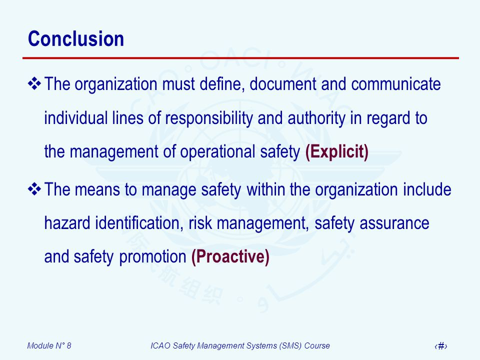 Module N° 8ICAO Safety Management Systems (SMS) Course 43 Conclusion The organization must define, document and communicate individual lines of respon