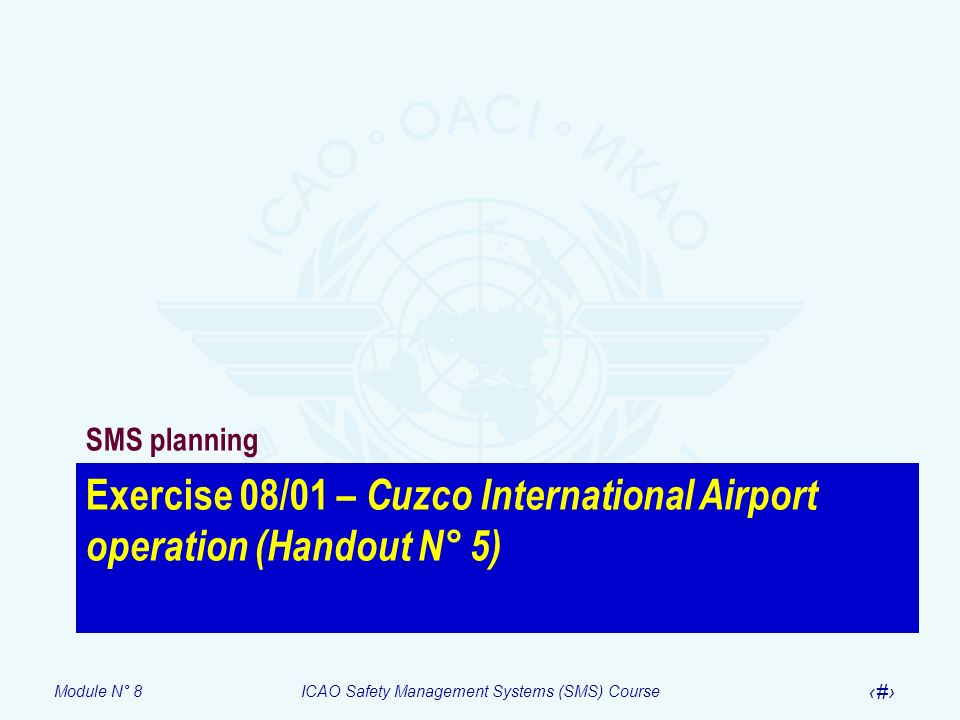 Module N° 8ICAO Safety Management Systems (SMS) Course 49 Exercise 08/01 – Cuzco International Airport operation (Handout N° 5) SMS planning