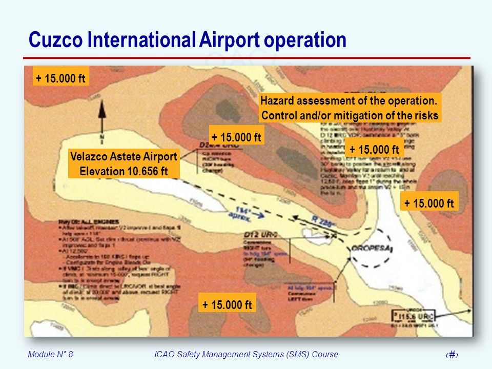 Module N° 8ICAO Safety Management Systems (SMS) Course 51 Velazco Astete Airport Elevation 10.656 ft + 15.000 ft Hazard assessment of the operation. C