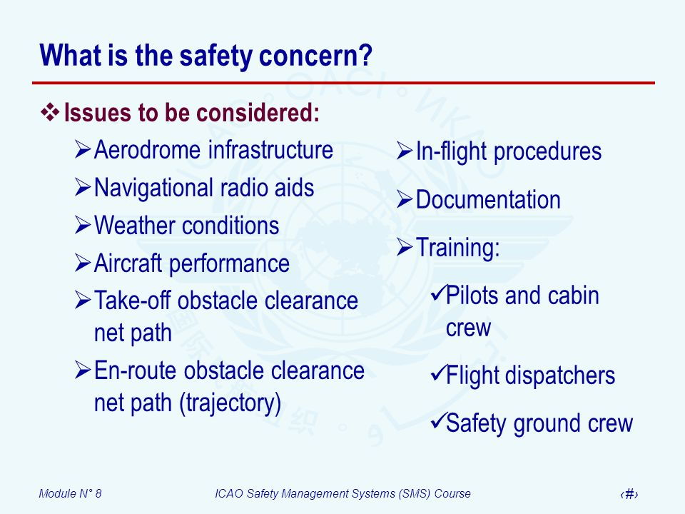 Module N° 8ICAO Safety Management Systems (SMS) Course 59 What is the safety concern? Issues to be considered: Aerodrome infrastructure Navigational r