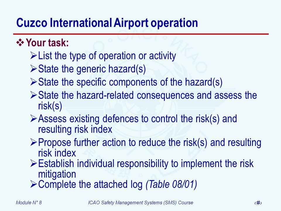 Module N° 8ICAO Safety Management Systems (SMS) Course 60 Your task: List the type of operation or activity State the generic hazard(s) State the spec