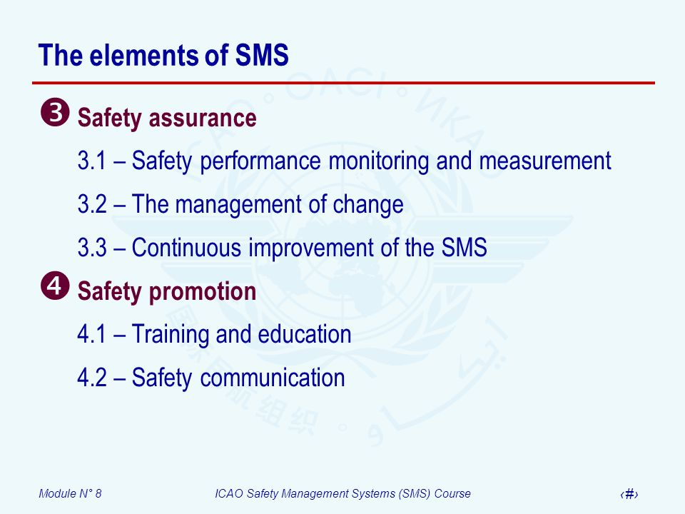 Module N° 8ICAO Safety Management Systems (SMS) Course 7 The elements of SMS Safety assurance 3.1 – Safety performance monitoring and measurement 3.2