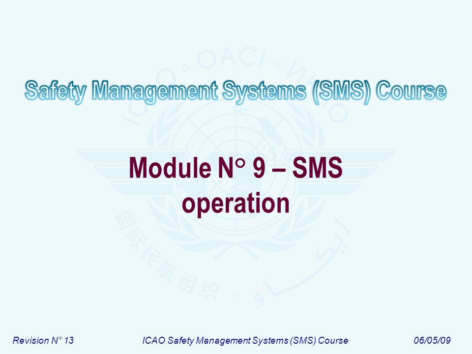 Revision N° 13ICAO Safety Management Systems (SMS) Course06/05/09 Module N° 9 – SMS operation