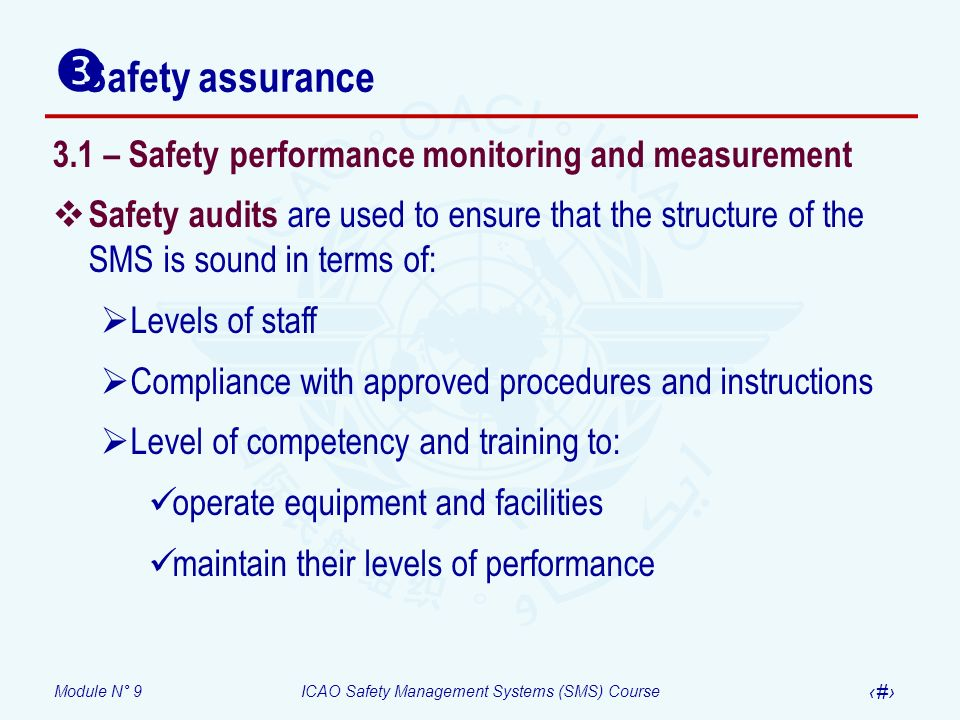 Module N° 9ICAO Safety Management Systems (SMS) Course 17 3.1 – Safety performance monitoring and measurement Safety audits are used to ensure that th
