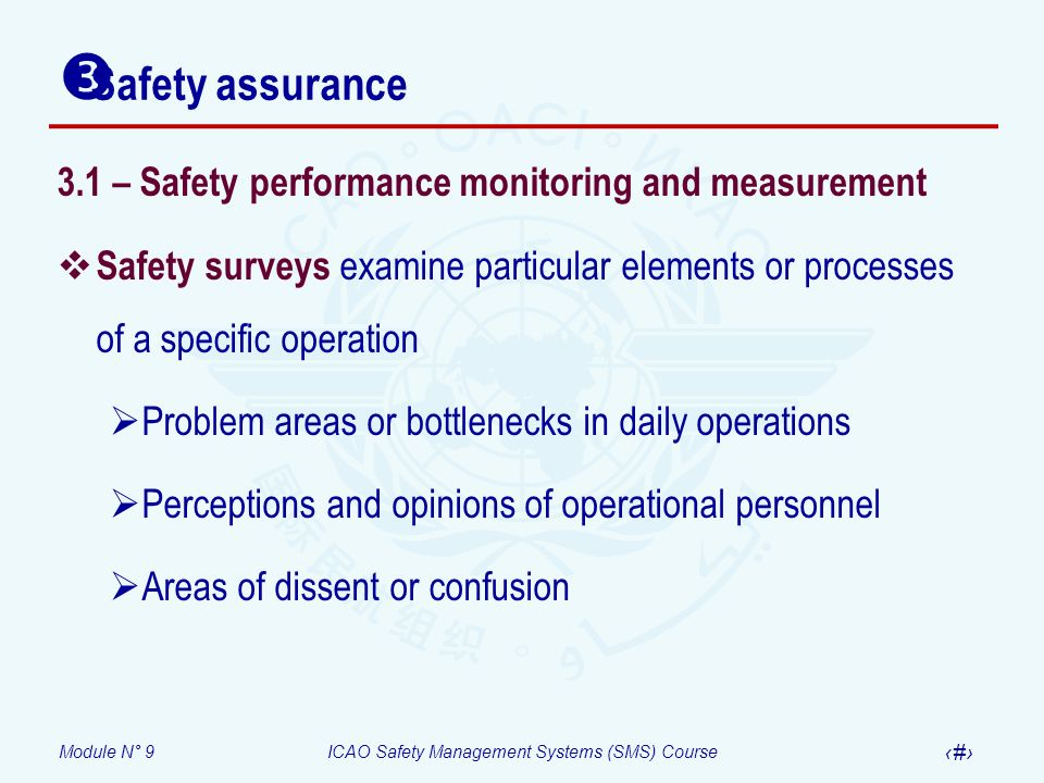 Module N° 9ICAO Safety Management Systems (SMS) Course 18 3.1 – Safety performance monitoring and measurement Safety surveys examine particular elemen