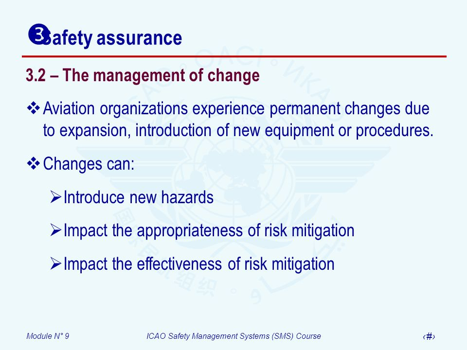 Module N° 9ICAO Safety Management Systems (SMS) Course 23 3.2 – The management of change Aviation organizations experience permanent changes due to ex