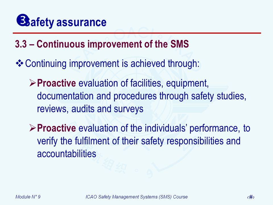 Module N° 9ICAO Safety Management Systems (SMS) Course 27 3.3 – Continuous improvement of the SMS Continuing improvement is achieved through: Proactiv