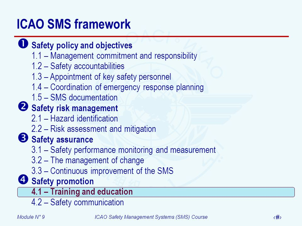 Module N° 9ICAO Safety Management Systems (SMS) Course 30 ICAO SMS framework Safety policy and objectives 1.1 – Management commitment and responsibili