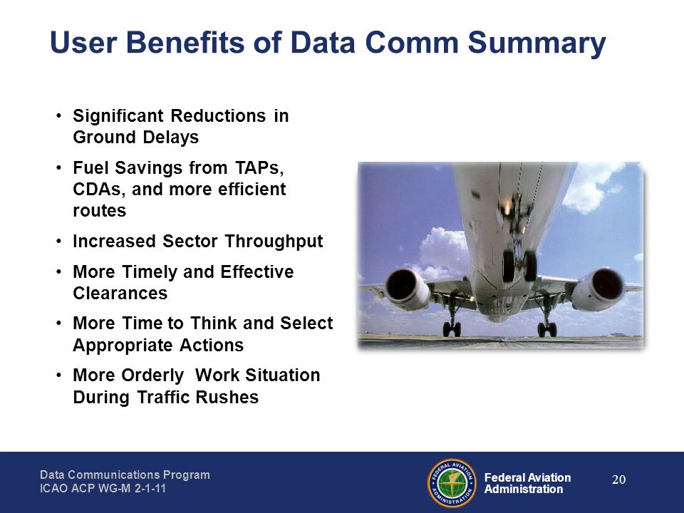 Federal Aviation Administration Data Communications Program ICAO ACP WG-M 2-1-11 20 User Benefits of Data Comm Summary Significant Reductions in Groun