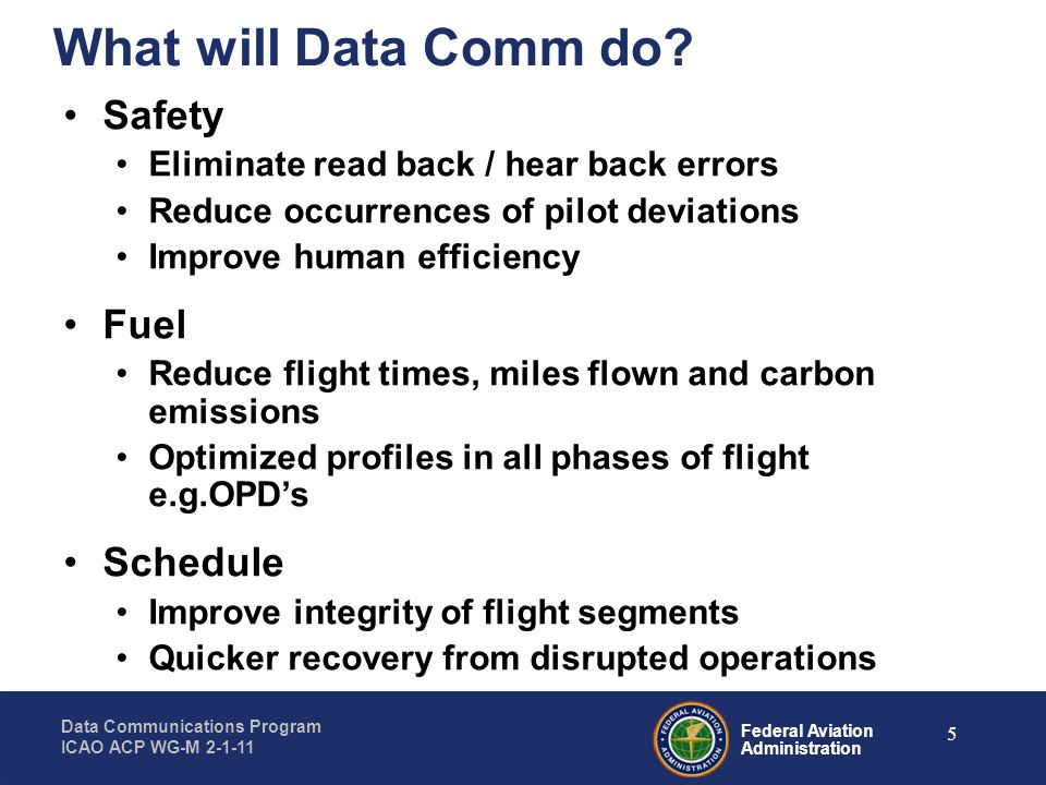 Federal Aviation Administration Data Communications Program ICAO ACP WG-M 2-1-11 26 Summary Several RFCs have been solicited in the last year –Dedicated ATS Network and Repurposing of Aircraft Radios, which –Helped refine our requirements & ready us for the final SIR Data Comm is a key enabler for the NextGen TBO portfolio The Data Comm operational concept was developed to enable TBO Coordinated implementation plans are required –Aligned with Automation Roadmap, TBO portfolio, NextGen Implementation Plan and Global Implementation Plan –Coordinated w/Users investment plans