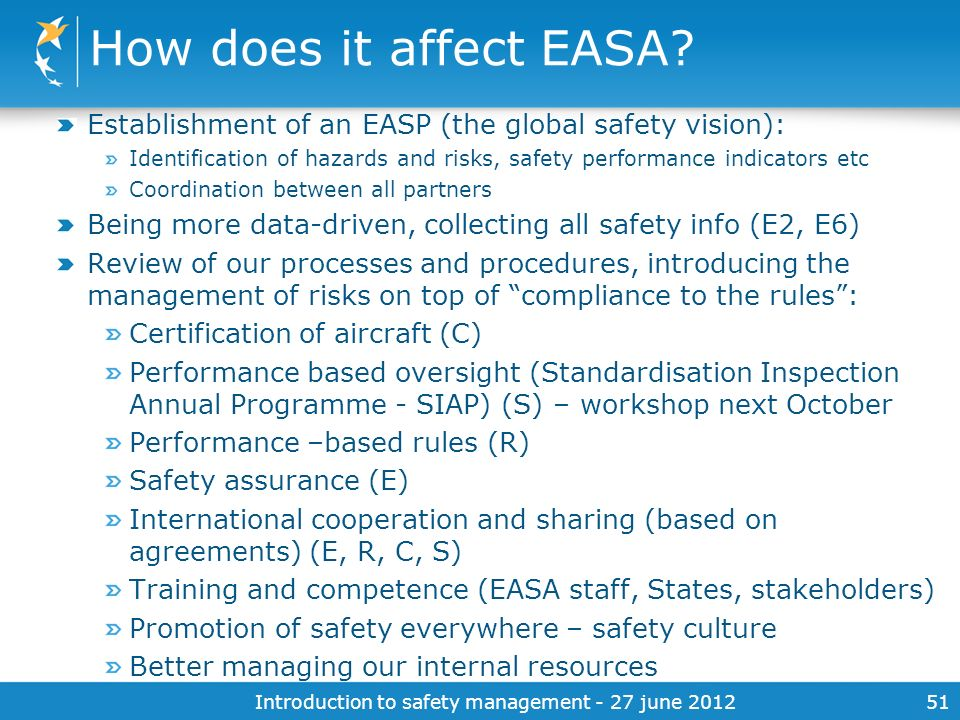 Introduction to safety management - 27 june 201251 How does it affect EASA? Establishment of an EASP (the global safety vision): Identification of haz