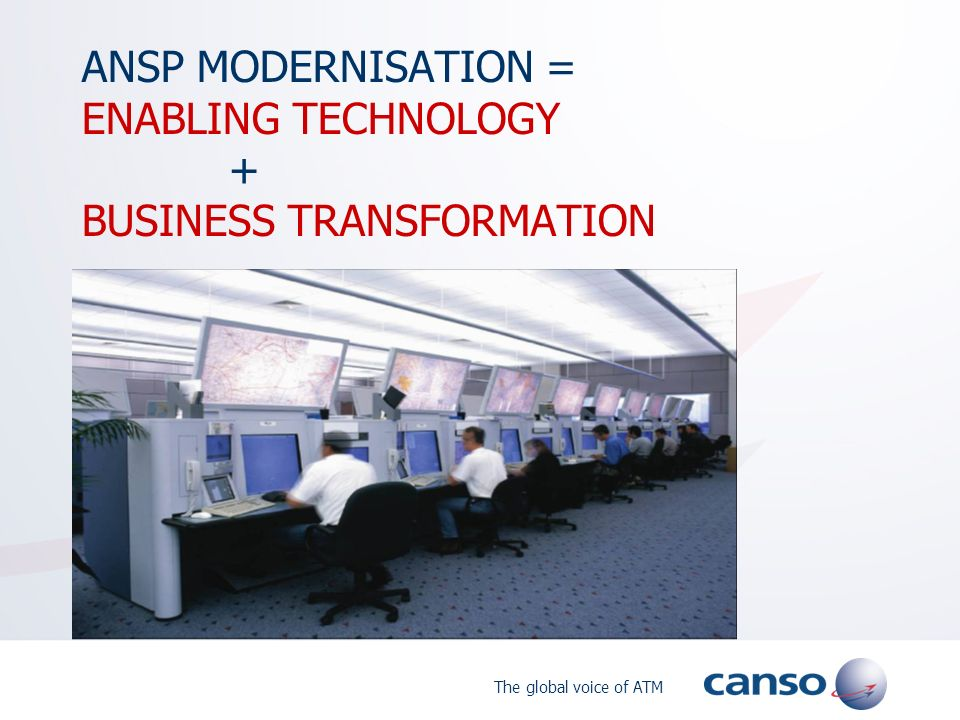 The global voice of ATM ANSP MODERNISATION = ENABLING TECHNOLOGY + BUSINESS TRANSFORMATION