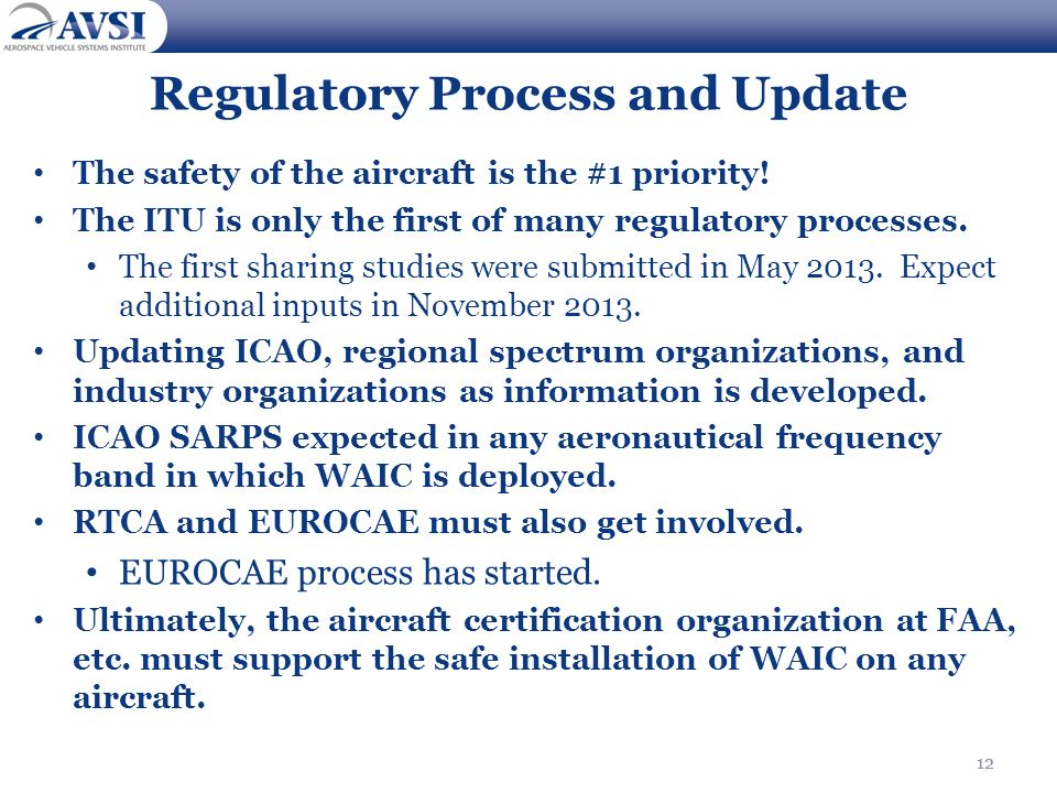 12 Regulatory Process and Update The safety of the aircraft is the #1 priority! The ITU is only the first of many regulatory processes. The first shar