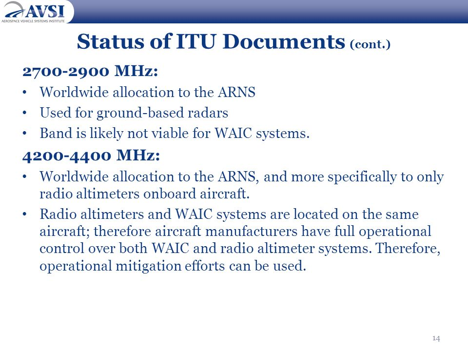 14 Status of ITU Documents (cont.) 2700-2900 MHz: Worldwide allocation to the ARNS Used for ground-based radars Band is likely not viable for WAIC sys