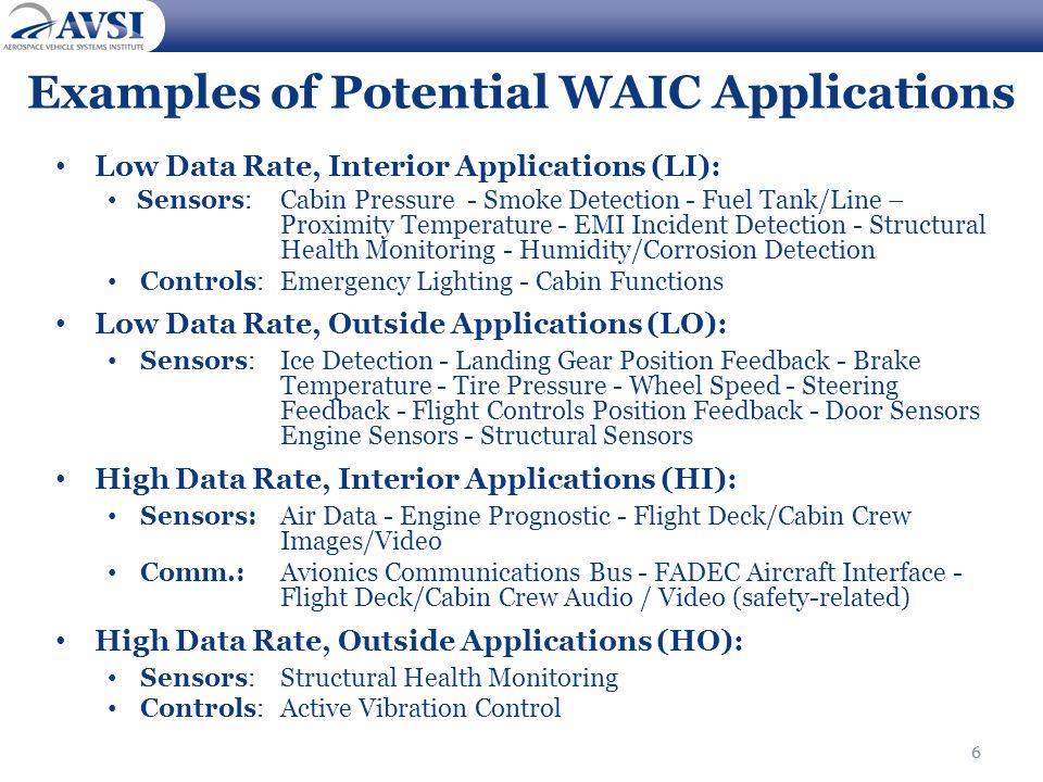 6 Examples of Potential WAIC Applications Low Data Rate, Interior Applications (LI): Sensors:Cabin Pressure - Smoke Detection - Fuel Tank/Line – Proxi
