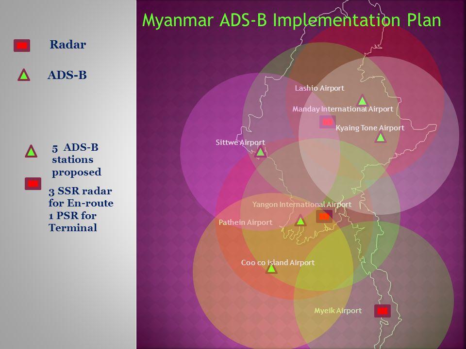 Yangon International Airport Manday International Airport Myeik Airport Radar 3 SSR radar for En-route 1 PSR for Terminal ADS-B Lashio Airport Pathein