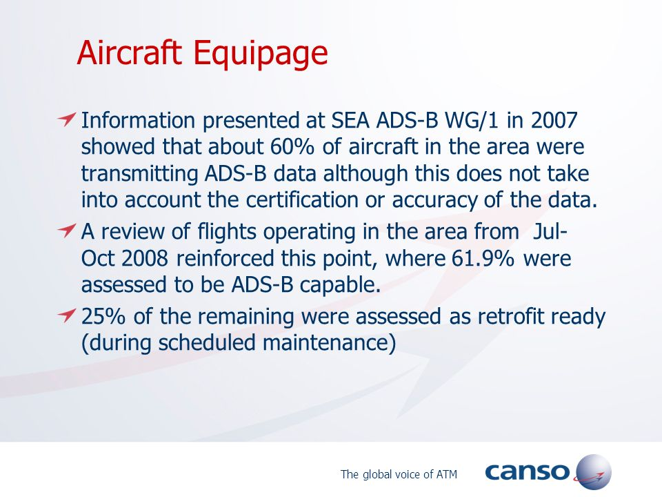 The global voice of ATM Aircraft Equipage Information presented at SEA ADS-B WG/1 in 2007 showed that about 60% of aircraft in the area were transmitt