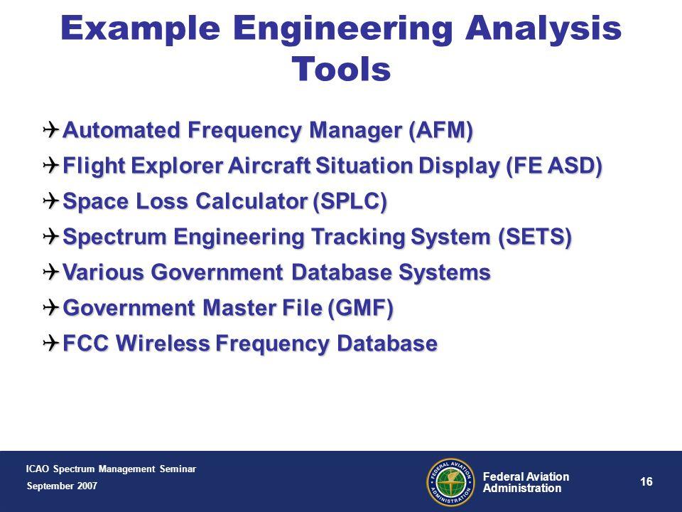15 Federal Aviation Administration New IMDS Version 2.0 Control ICAO Spectrum Management Seminar September 2007