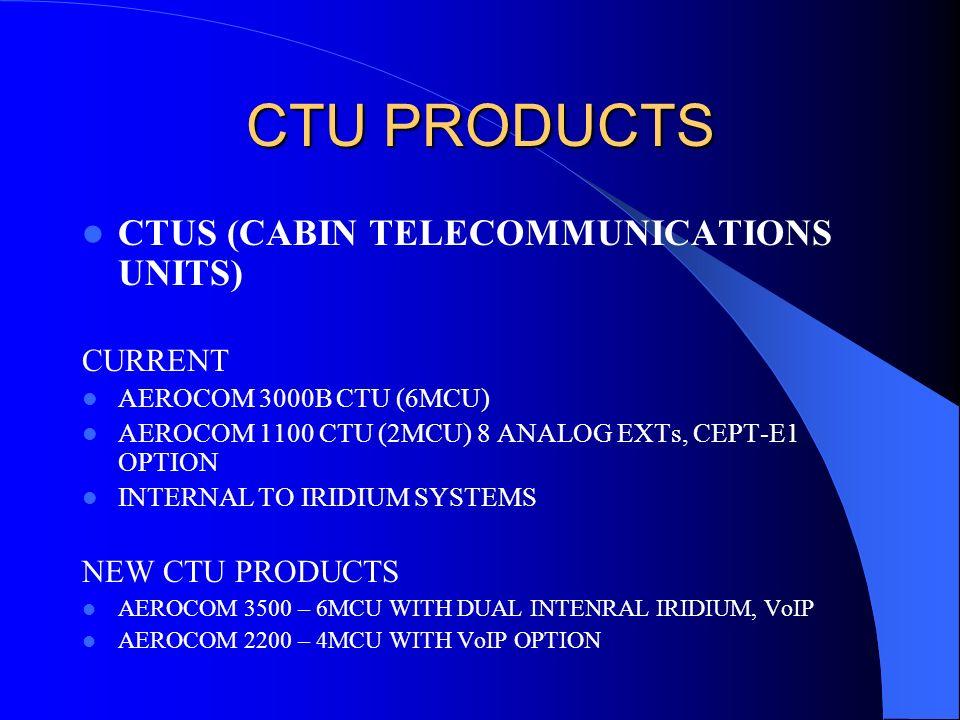 CTU PRODUCTS CTUS (CABIN TELECOMMUNICATIONS UNITS) CURRENT AEROCOM 3000B CTU (6MCU) AEROCOM 1100 CTU (2MCU) 8 ANALOG EXTs, CEPT-E1 OPTION INTERNAL TO