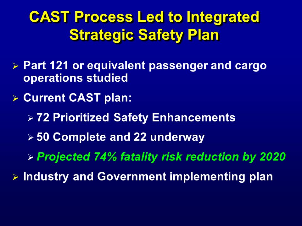 CAST Process Led to Integrated Strategic Safety Plan Part 121 or equivalent passenger and cargo operations studied Current CAST plan: 72 Prioritized S