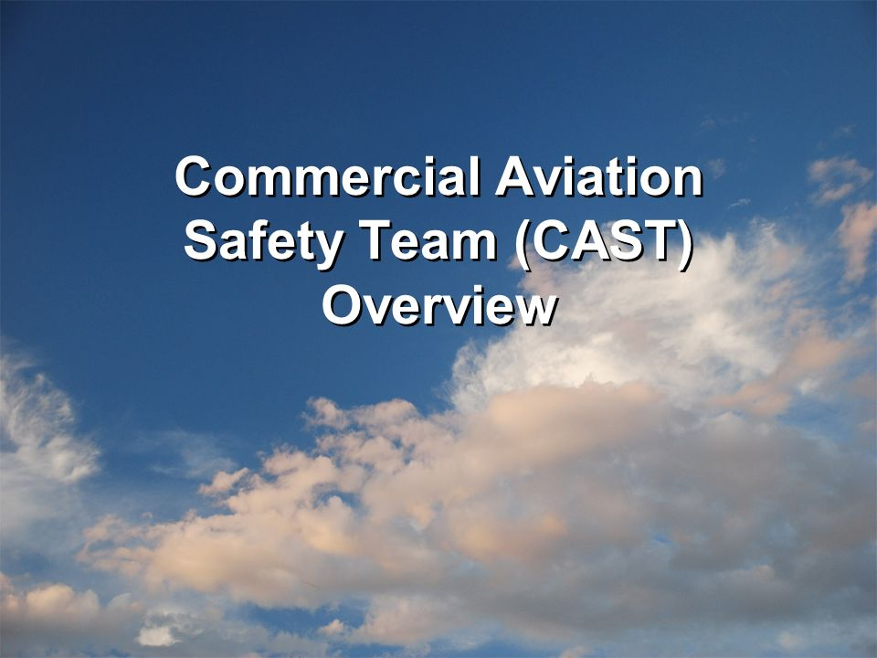 In the U.S., our focus was set by the White House Commission on Aviation Safety, and The National Civil Aviation Review Commission (NCARC) 1.1...