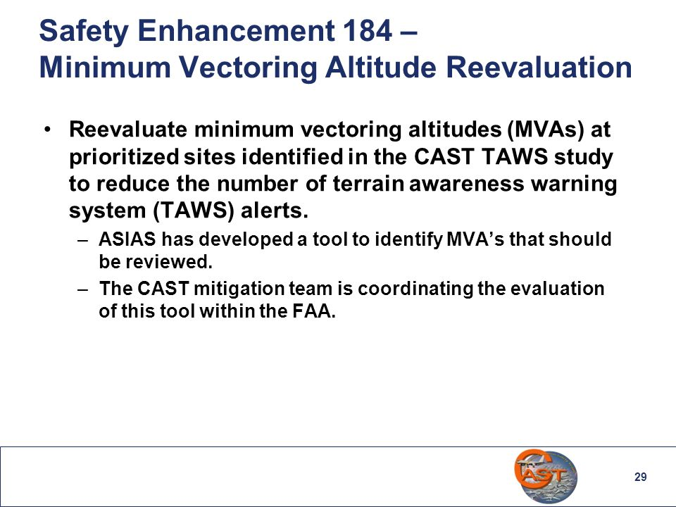 29 Safety Enhancement 184 – Minimum Vectoring Altitude Reevaluation Reevaluate minimum vectoring altitudes (MVAs) at prioritized sites identified in t