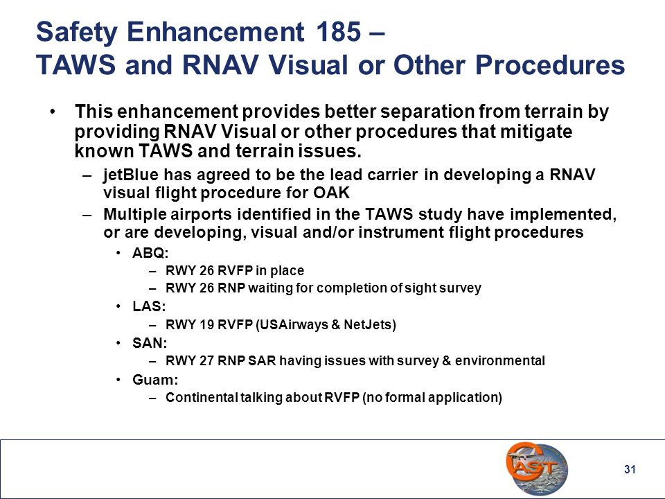 31 Safety Enhancement 185 – TAWS and RNAV Visual or Other Procedures This enhancement provides better separation from terrain by providing RNAV Visual