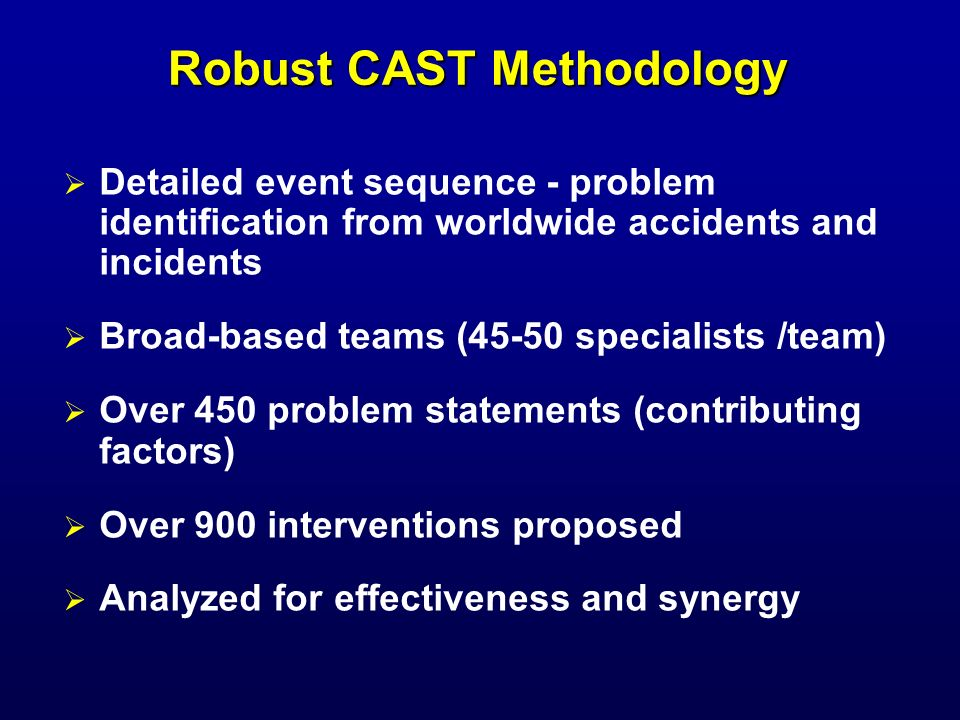CAST Process Led to Integrated Strategic Safety Plan Part 121 or equivalent passenger and cargo operations studied Current CAST plan: 72 Prioritized Safety Enhancements 50 Complete and 22 underway Projected 74% fatality risk reduction by 2020 Industry and Government implementing plan