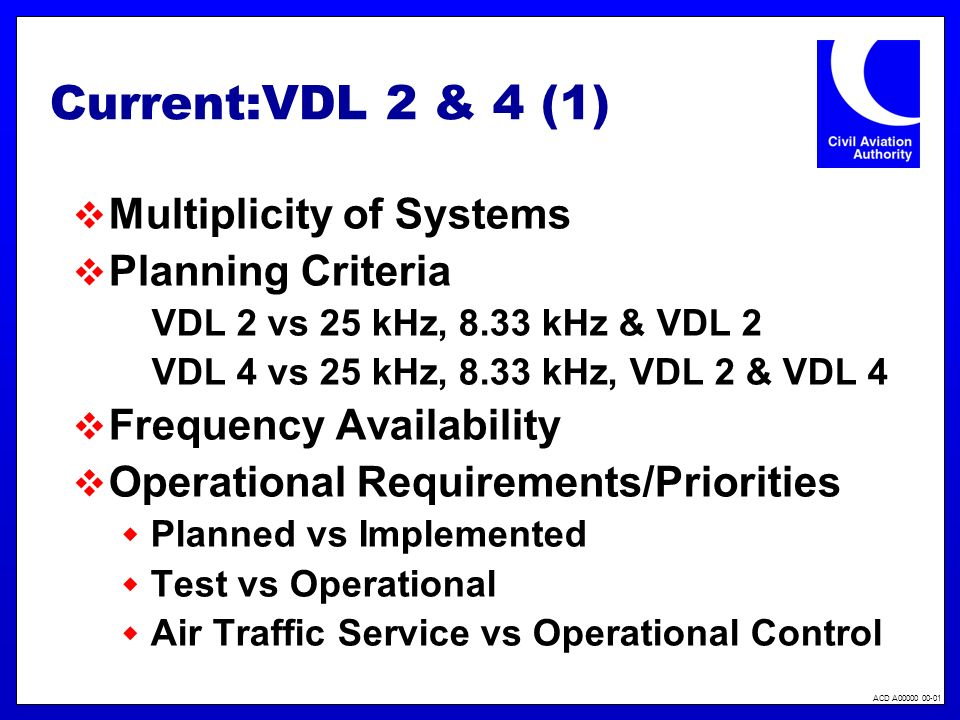 ACD A00000 00-01 Current:VDL 2 & 4 (1) Multiplicity of Systems Planning Criteria VDL 2 vs 25 kHz, 8.33 kHz & VDL 2 VDL 4 vs 25 kHz, 8.33 kHz, VDL 2 & VDL 4 Frequency Availability Operational Requirements/Priorities Planned vs Implemented Test vs Operational Air Traffic Service vs Operational Control