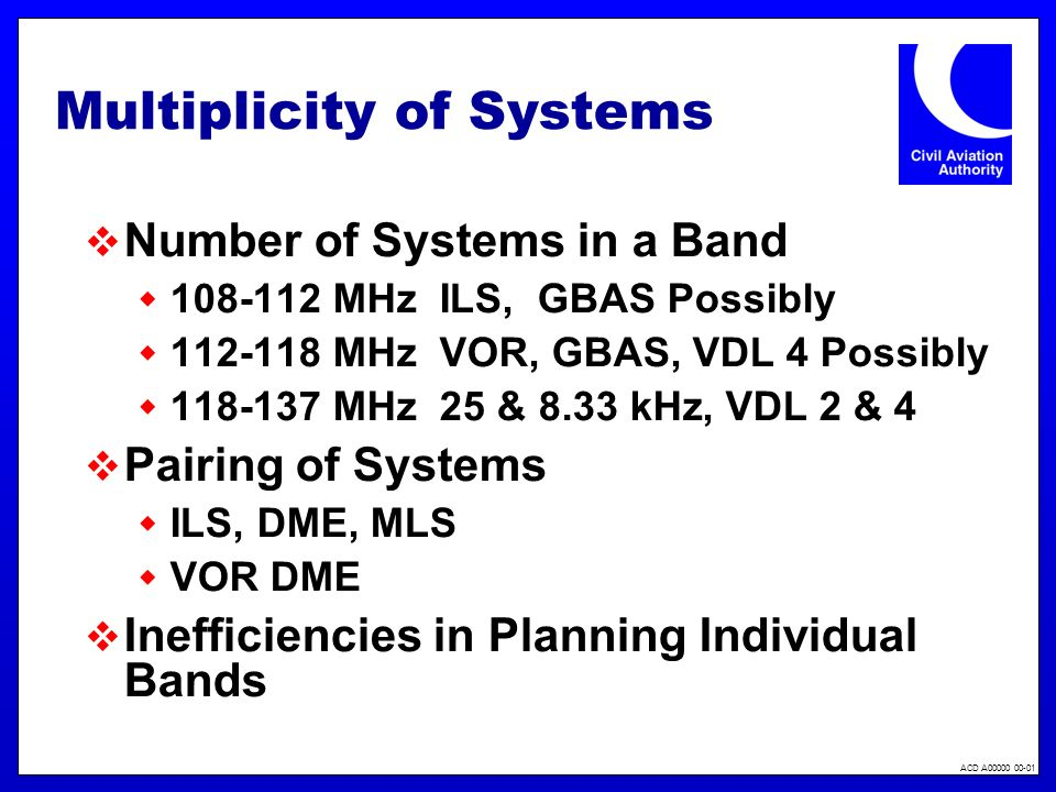 ACD A00000 00-01 Multiplicity of Systems Number of Systems in a Band 108-112 MHz ILS, GBAS Possibly 112-118 MHz VOR, GBAS, VDL 4 Possibly 118-137 MHz 25 & 8.33 kHz, VDL 2 & 4 Pairing of Systems ILS, DME, MLS VOR DME Inefficiencies in Planning Individual Bands