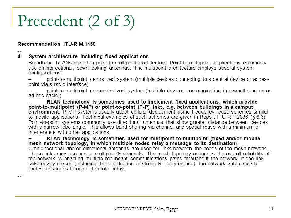 ACP WGF23 RFSW, Cairo, Egypt 11 Precedent (2 of 3) Recommendation ITU-R M.1450 … 4System architecture including fixed applications Broadband RLANs are