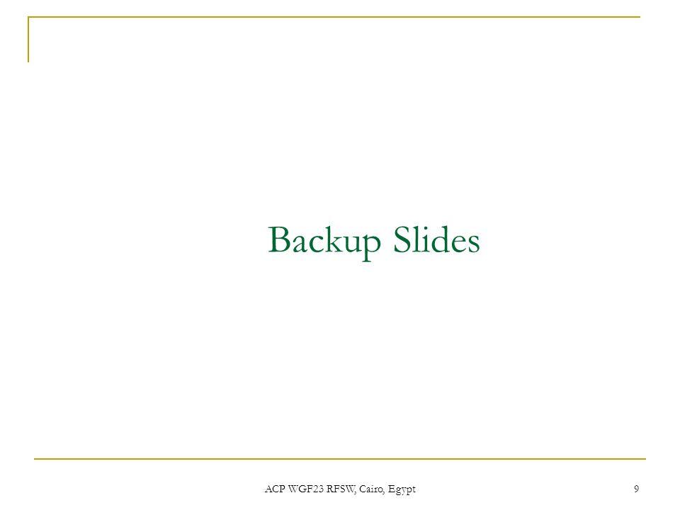 ACP WGF23 RFSW, Cairo, Egypt 9 Backup Slides