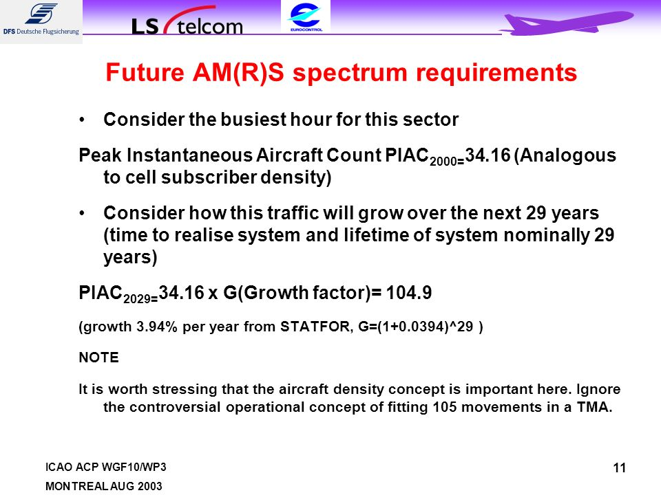 ICAO ACP WGF10/WP3 MONTREAL AUG 2003 11 Future AM(R)S spectrum requirements Consider the busiest hour for this sector Peak Instantaneous Aircraft Count PIAC 2000= 34.16 (Analogous to cell subscriber density) Consider how this traffic will grow over the next 29 years (time to realise system and lifetime of system nominally 29 years) PIAC 2029= 34.16 x G(Growth factor)= 104.9 (growth 3.94% per year from STATFOR, G=(1+0.0394)^29 ) NOTE It is worth stressing that the aircraft density concept is important here.
