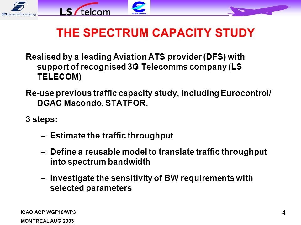 ICAO ACP WGF10/WP3 MONTREAL AUG 2003 4 THE SPECTRUM CAPACITY STUDY Realised by a leading Aviation ATS provider (DFS) with support of recognised 3G Telecomms company (LS TELECOM) Re-use previous traffic capacity study, including Eurocontrol/ DGAC Macondo, STATFOR.